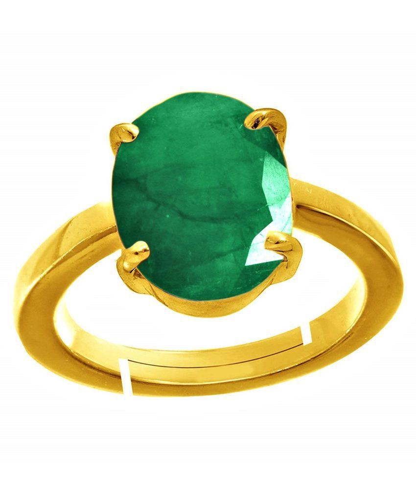 RSPR 11.25 Ratti Natural Certified Emerald Panna Gemstone Astrology Adjustable Ring