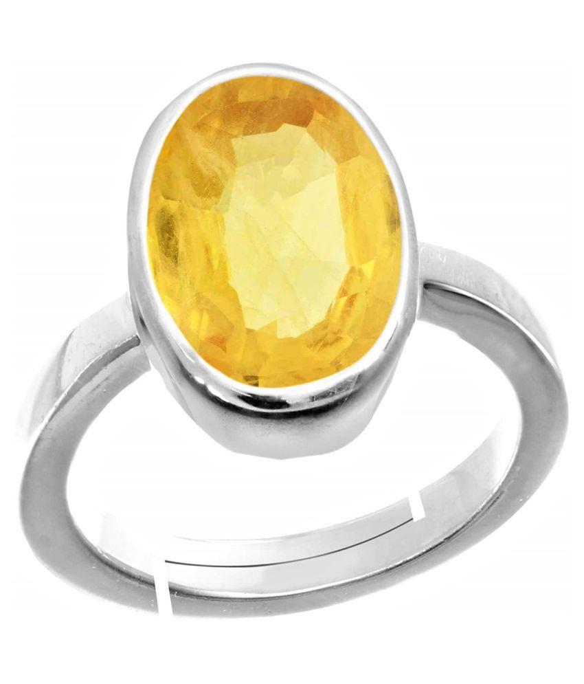 RSPR 11.25 Ratti Yellow Sapphire Stone Adjustable Ring Original and Certified by UGTL Pukhraj Gemstone Free Size