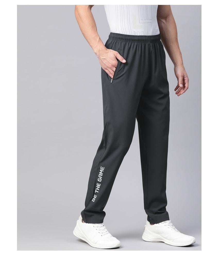 Alcis Men Charcoal Grey Solid Track Pants