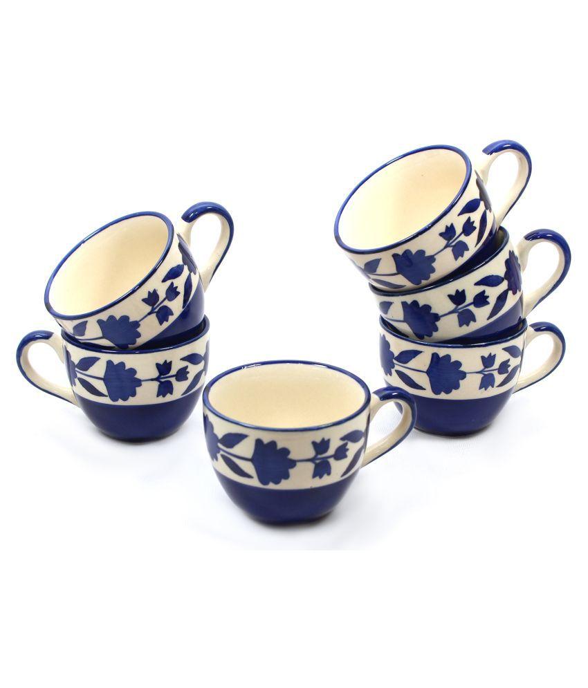 designo prints Ceramic Blue & white cups Tea Cup 6 Pcs 125 ml