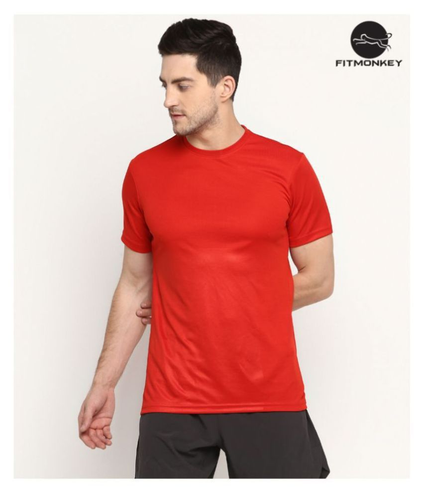 FITMonkey Red Polyester T-Shirt Single Pack