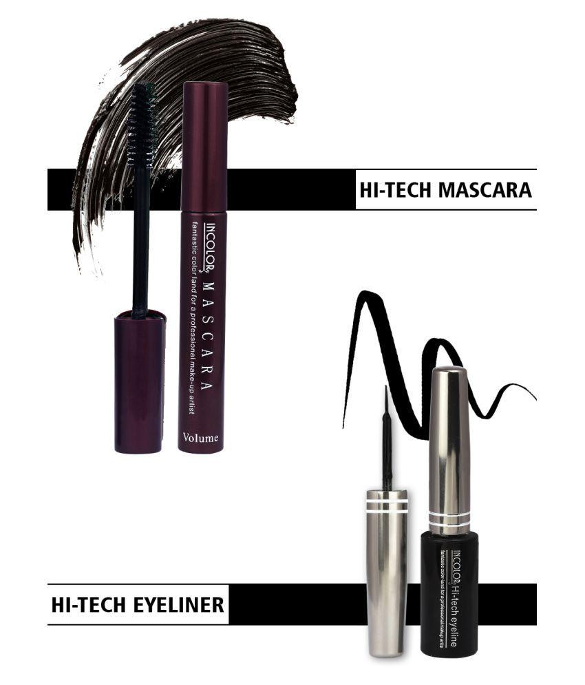 Incolor Eyeliner & Mascara Combo Liquid Eyeliner Black Pack of 2 6 mL