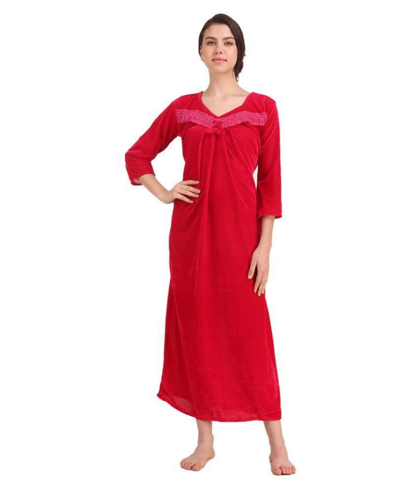 Gospel Velvet Nighty & Night Gowns - Pink