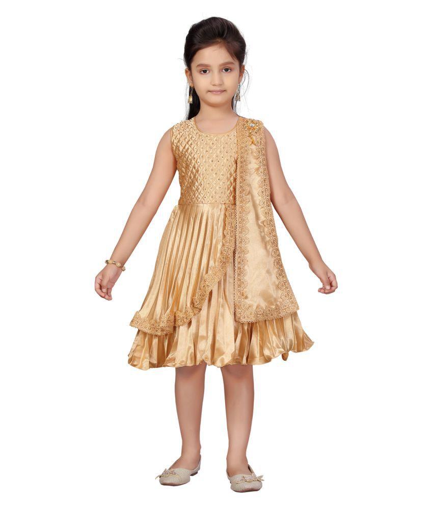 Aarika Girls Gold Colour Silk Frock
