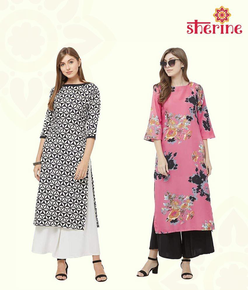 Sherine Women's Multi-Coloured Crepe Straight Calf Length Ethnic Printed Kurti(Pack of 2)