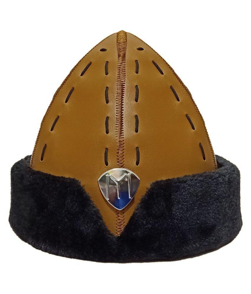 Ertugrul Ghazi Cap Brown Embroidered Fur Caps
