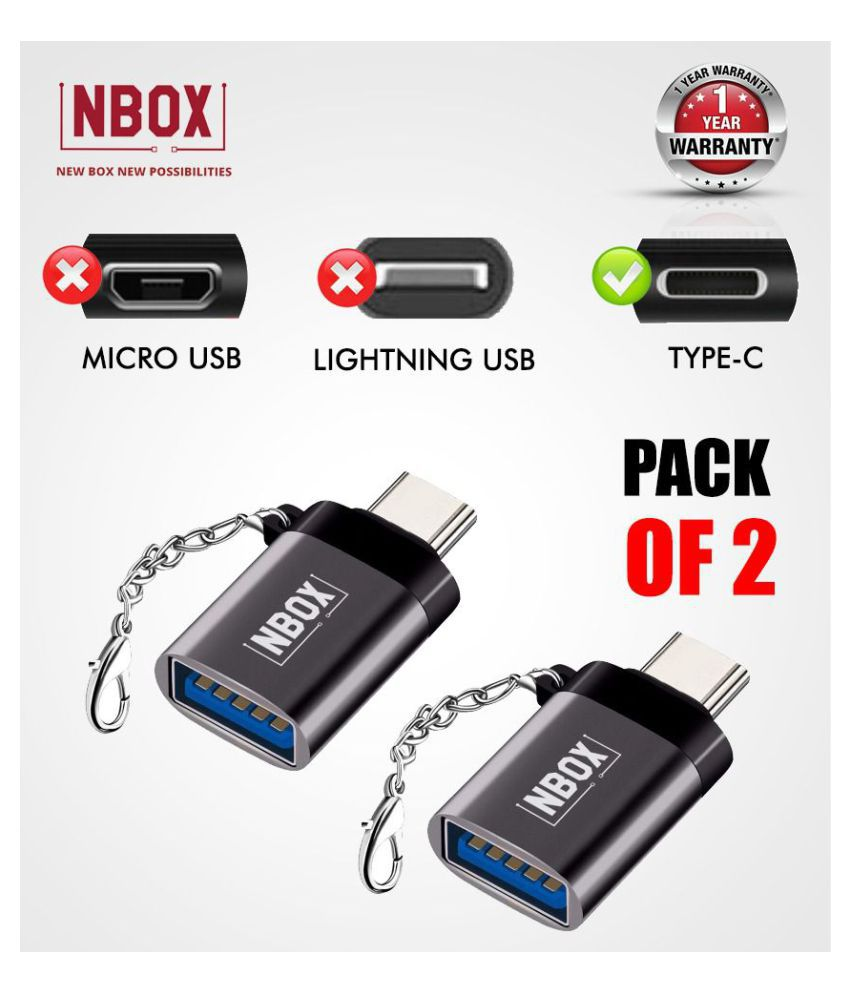 NBOX F11 Type-C to USB OTG Adapter - Silver ( Pack of 2)