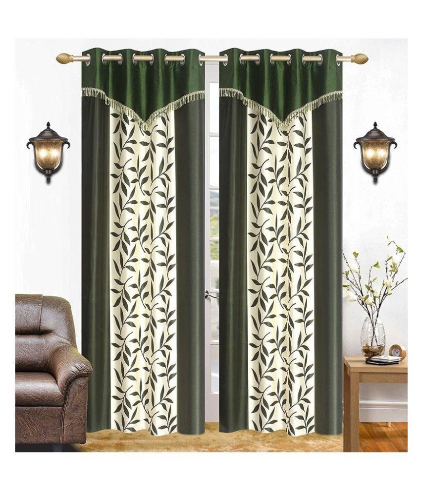 BM Creation Set of 2 Window Semi-Transparent Eyelet Polyester Curtains Green