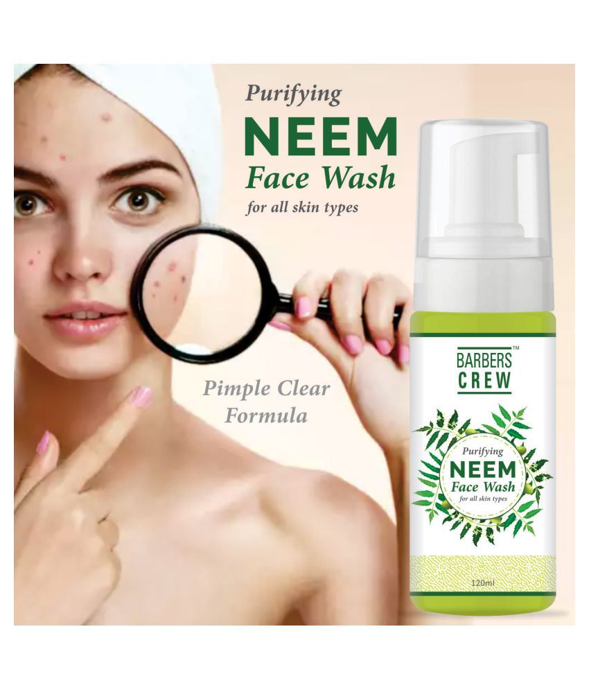 Barbers Crew Purifying Neem Face Wash For Pimples Free & Clear Skin Face Wash 120 mL