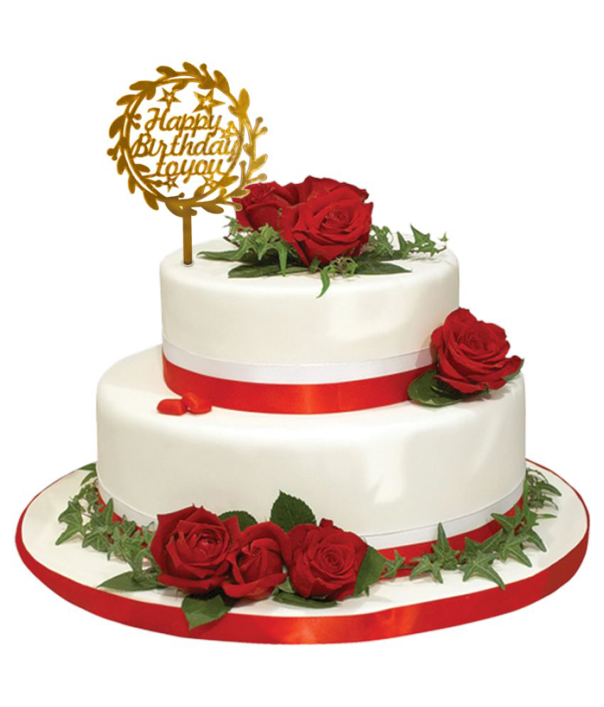 Cake Topper Acrylic Party Decor Gold - Pack of 1