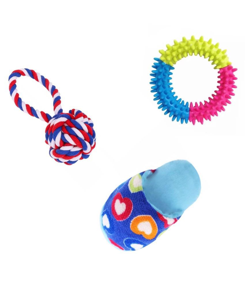 KUTKUT Training Toy set of Rope Ball, Teether and Squeaky Toy for Small Dogs and Pets - Pack of 3