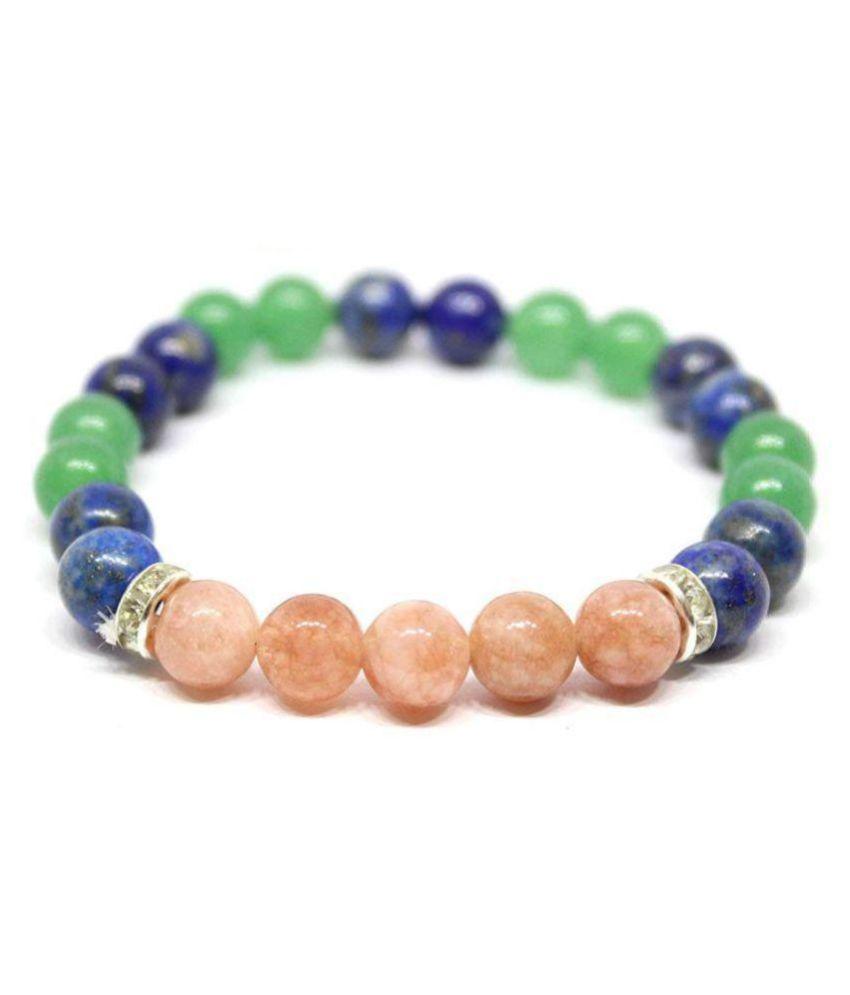 8mm Blue Lapis + Green Aventurine & Orange Sunstone  Natural Agate Stone Bracelet