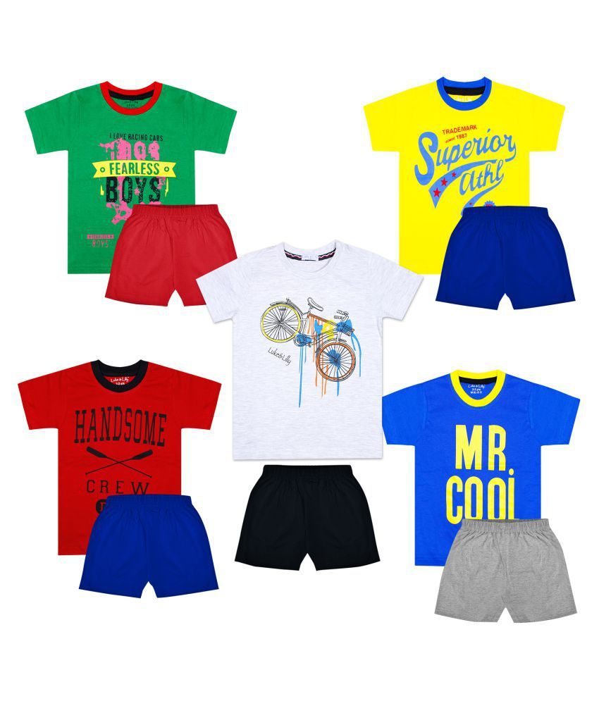 Luke and Lilly Boys Cotton Half Sleeve Multicolor Tshirt & Shorts Pack of 5