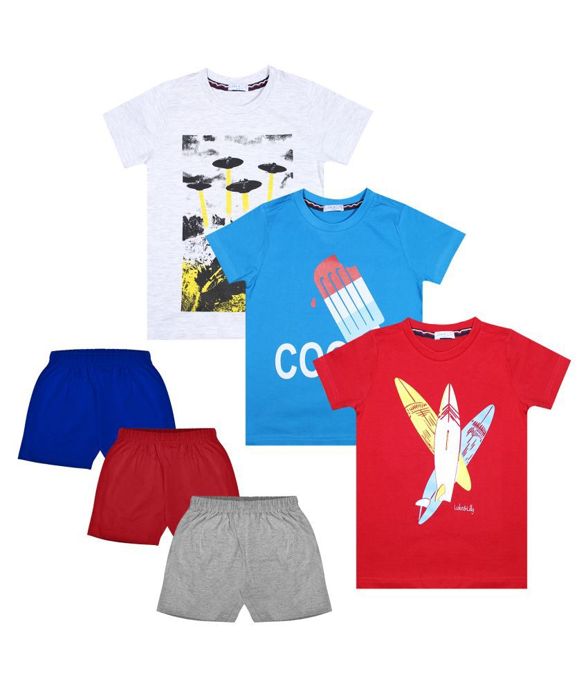 Luke and Lilly Boys Cotton Half Sleeve Multicolor Tshirt & Shorts Pack of 3