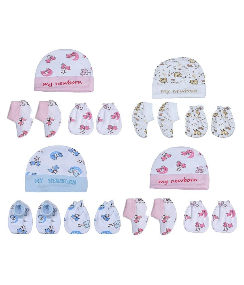 Baby Boys & Baby Girls Casual Cap Mitten, Bootie  (Multicolor OF 4)