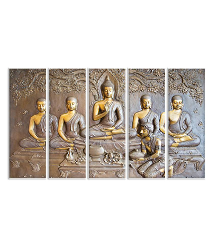 KALARKARI Lord buddha 5 multi panel wall art painting with MDF stretch frame Canvas Painting With Frame