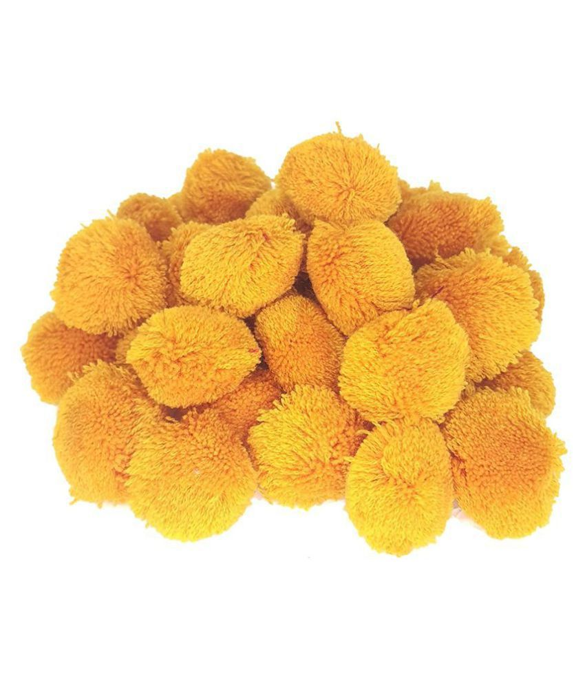 PRANSUNITA Pom Pom Big Wool Balls 50 pcs : Color Mustard, 40 mm dai, Used for Art & Craft, Dresses, Room Decoration, Jewelry Making etc Brand: PRANSUNITA