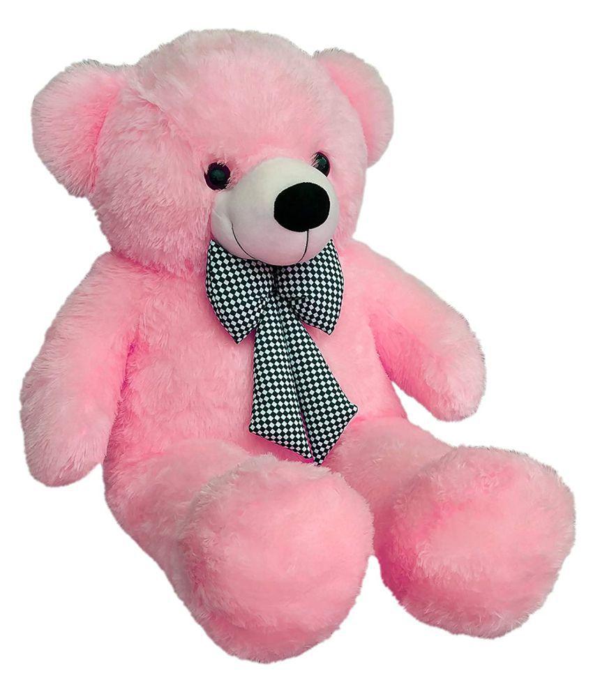 Webby 3 Feet Huggable Teddy Bear with Neck Bow  Pink
