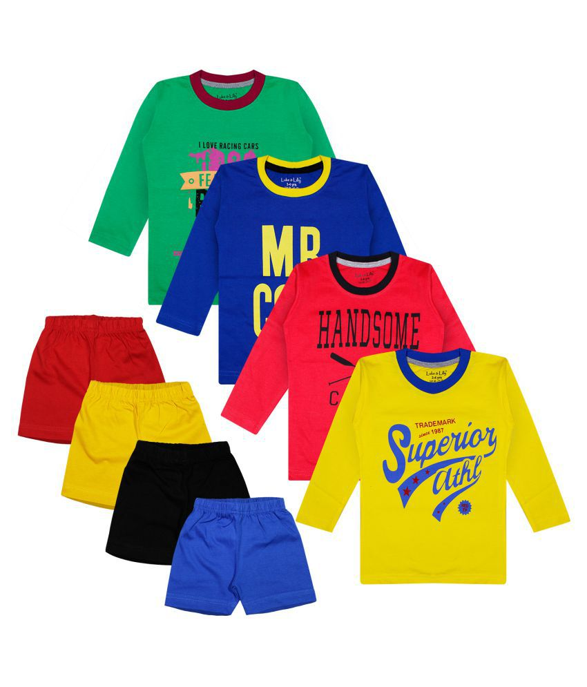 Luke and Lilly Boys Cotton Full Sleeve Tshirt and Shorts - Set of 4