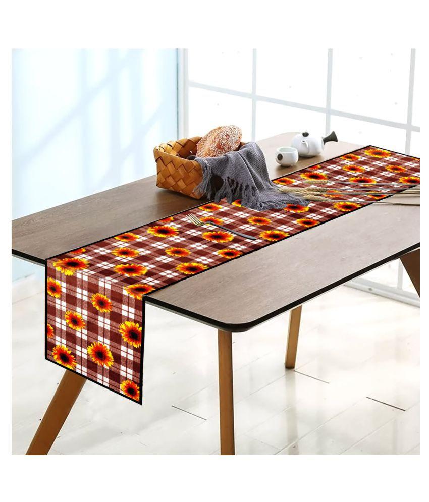Revexo 6 Seater Polyester Set of 6 Table Runner & Mats