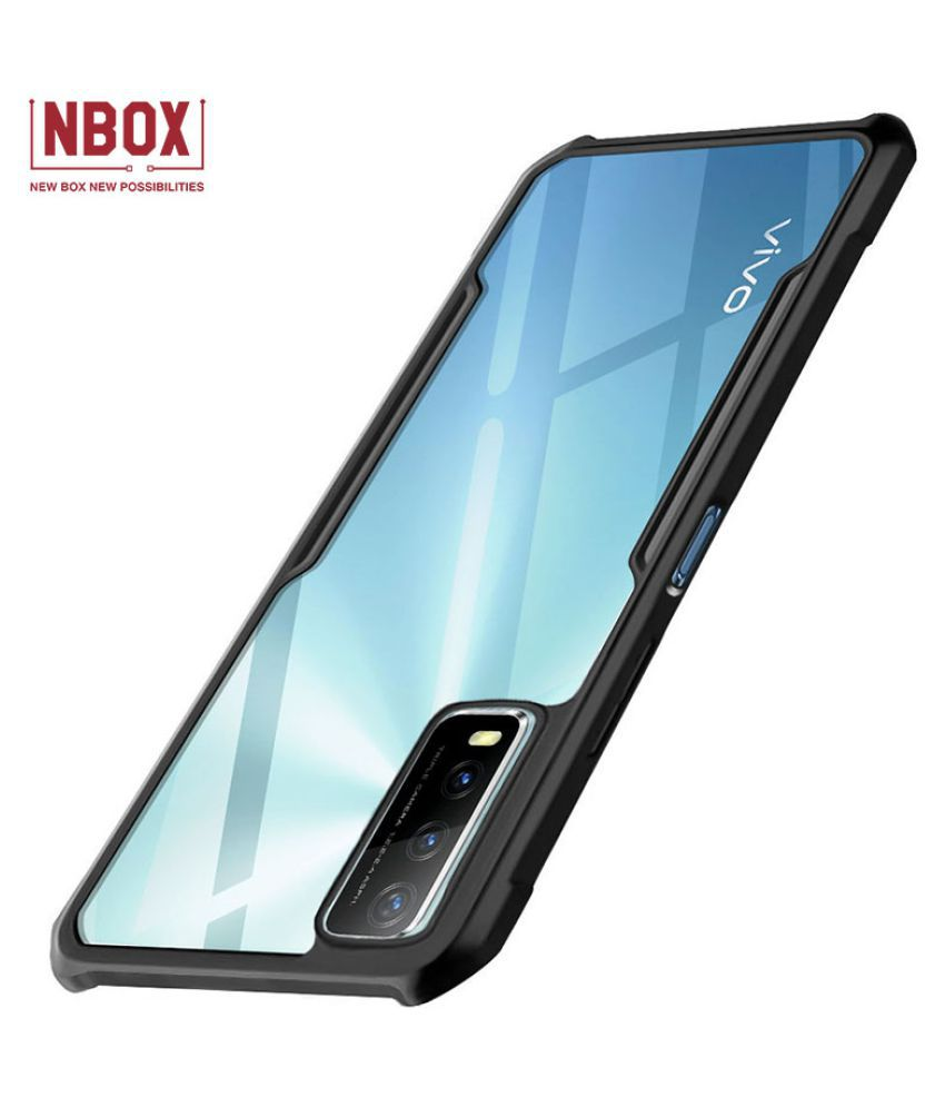 Vivo Y20 Hybrid Transparent Mobile Cover by NBOX - Black