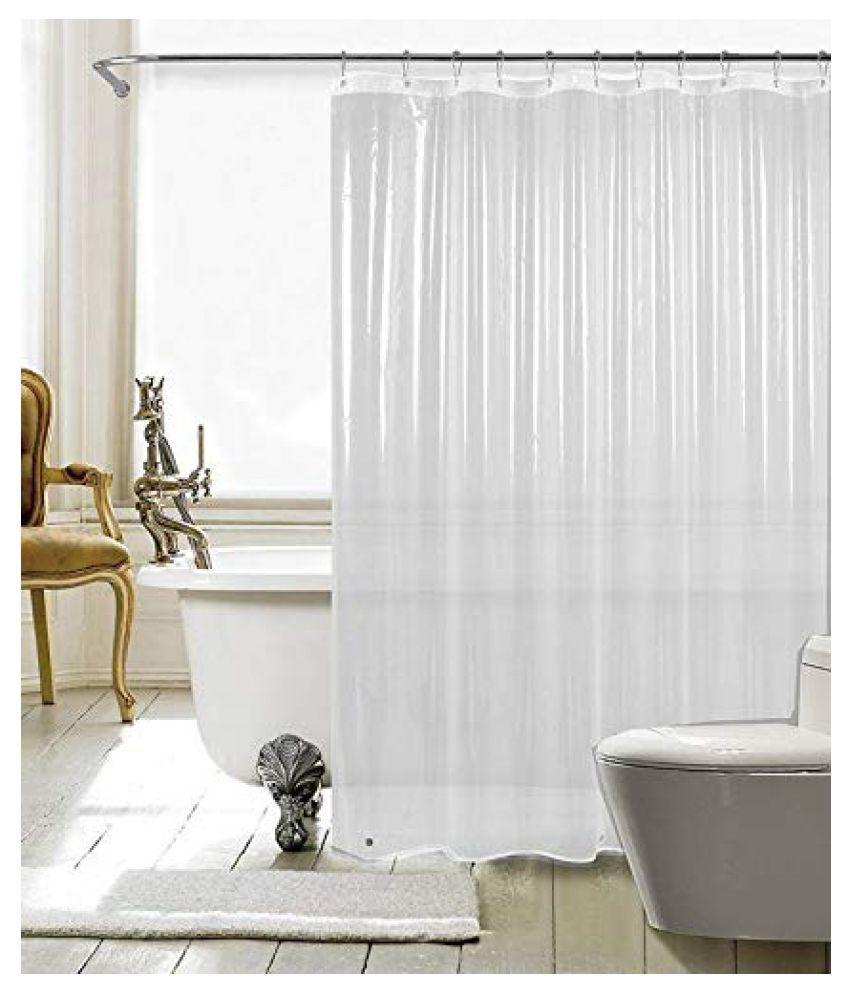 Fabfurn Single Long Door Transparent Ring Rod PVC AC Curtains White