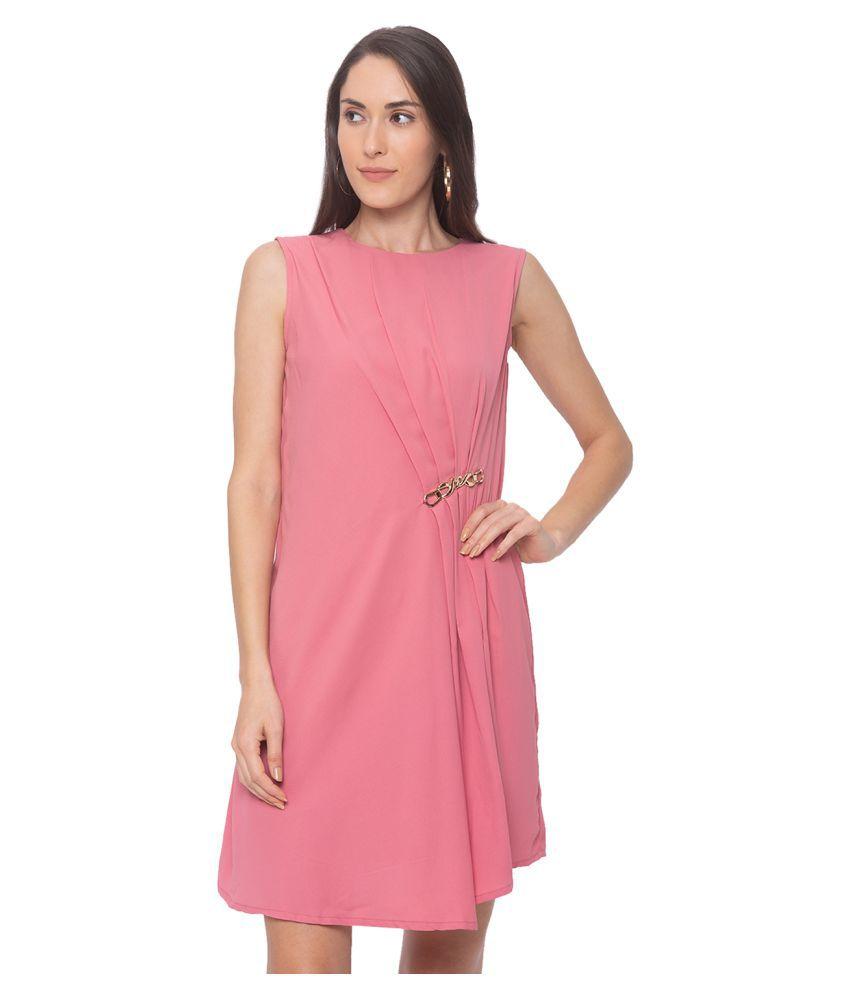 Globus Polyester Pink A- line Dress