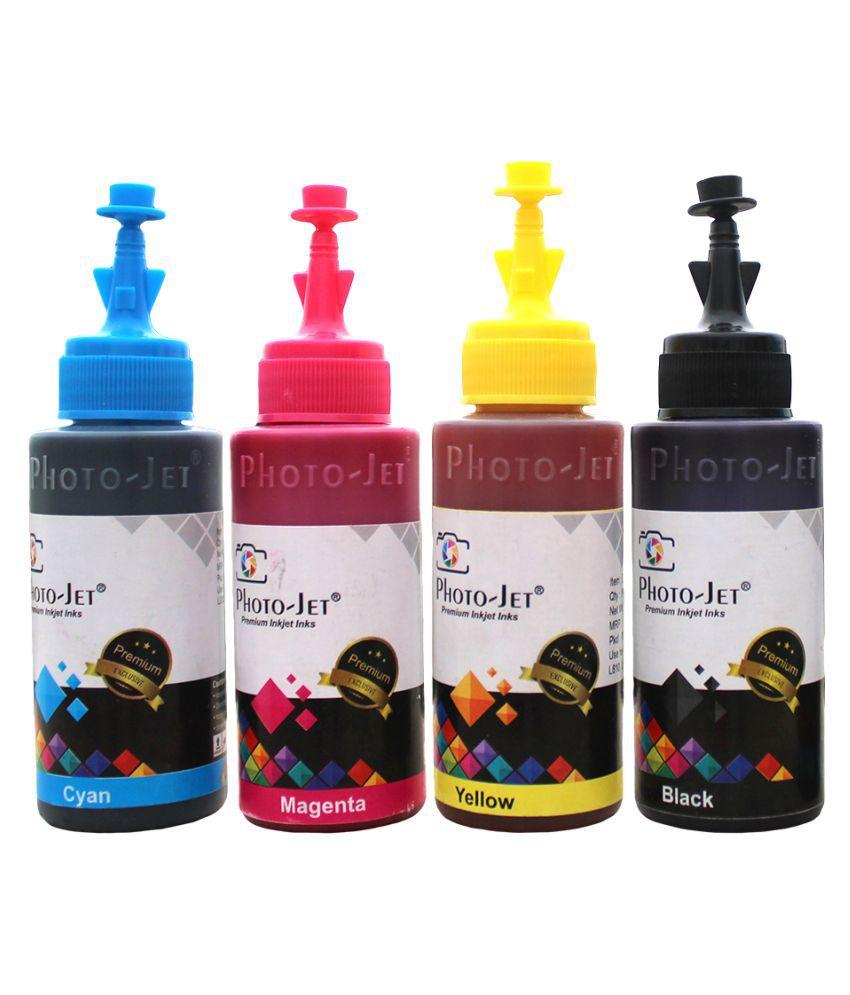 Photo Jet T664 Refill ink Set Multicolor Pack of 4 Ink bottle for Epson L130, L360, L380, L565, L210, L220, L310, L350, L355, L365, Printers  C/M/Y/K