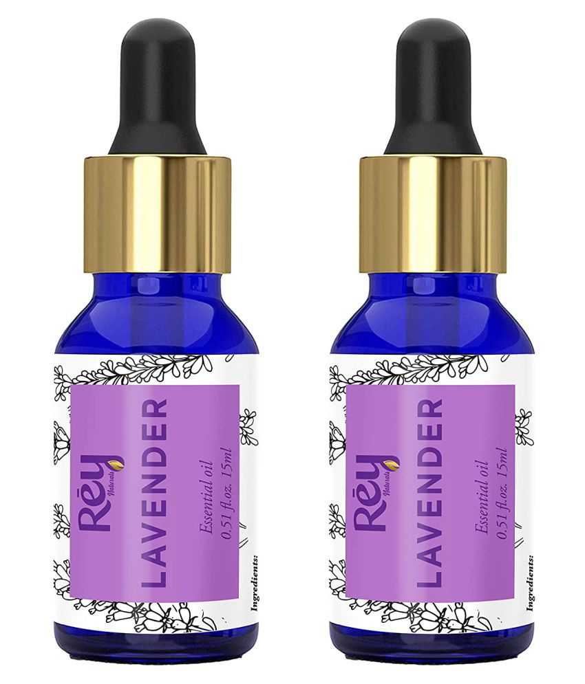 Rey Naturals Lavender Oil - Pure 100% Natural Essential Oil - for Healthier Skin, Hair and Restful Sleep - 15 ml - Pack of 2