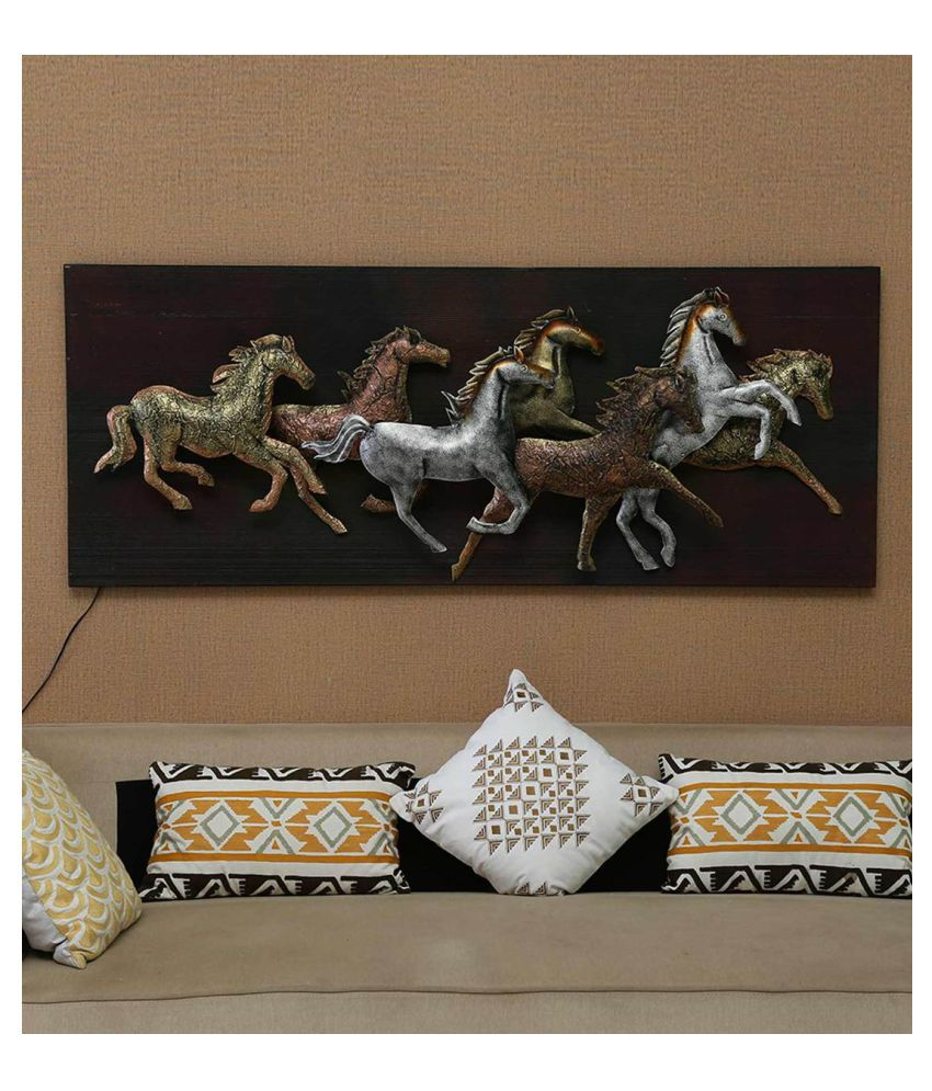 microtex Iron 7 Running horses Designer Shape Decoratives Panel Multi - Pack of 1