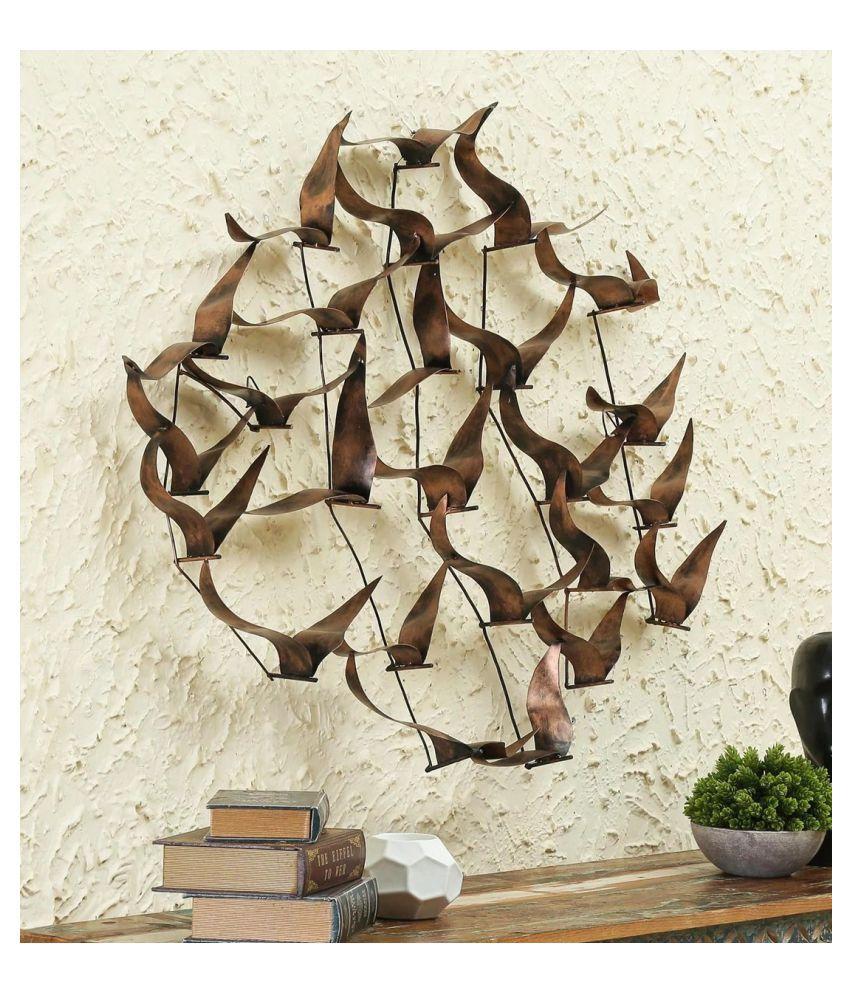 microtex Iron Metal Bird Wall Art Designer Shape Decoratives Panel Brown - Pack of 1