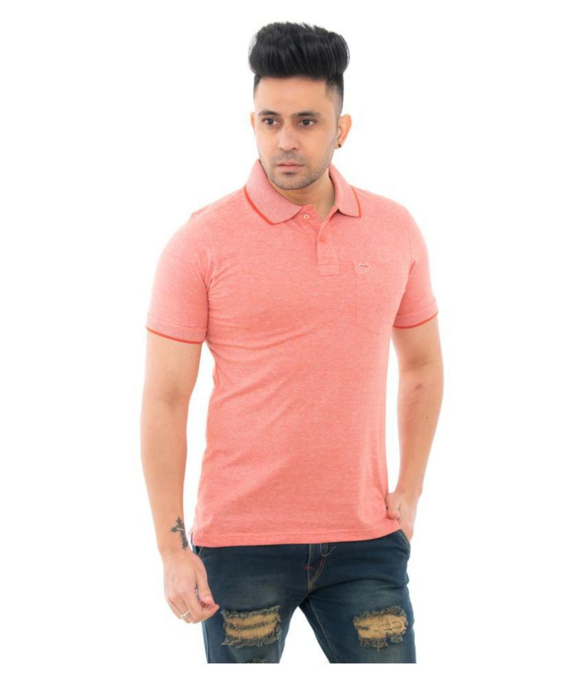 Lead & Ride Polyester Cotton Peach Plain Polo T Shirt