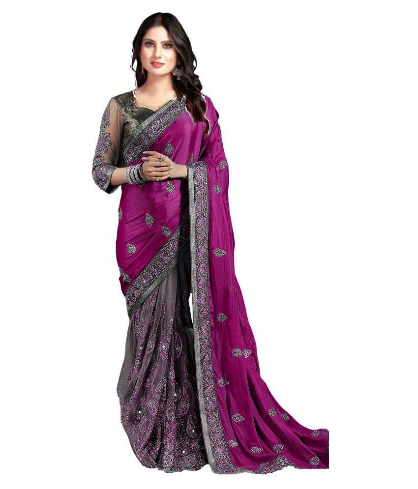 Darshita International Grey,Purple Net Saree