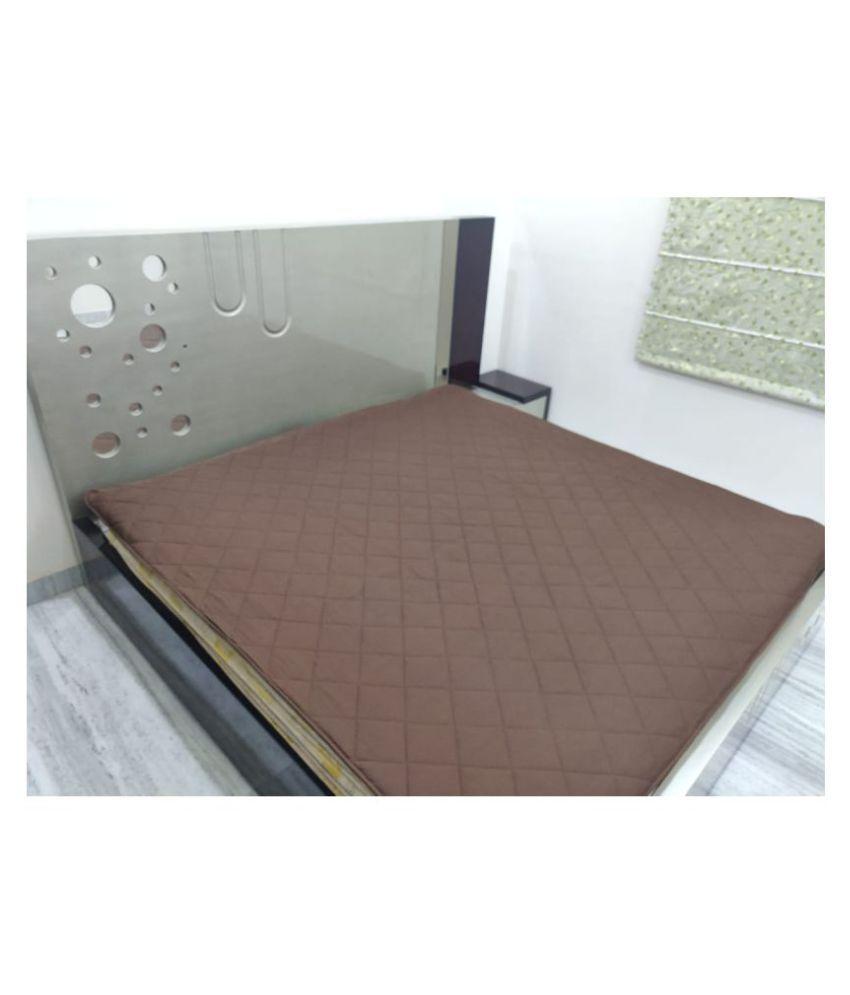 Home Saaj Brown Cotton Mattress Protector