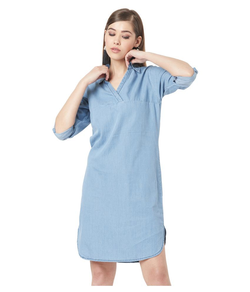 Miss Chase Cotton Blue Regular Dress