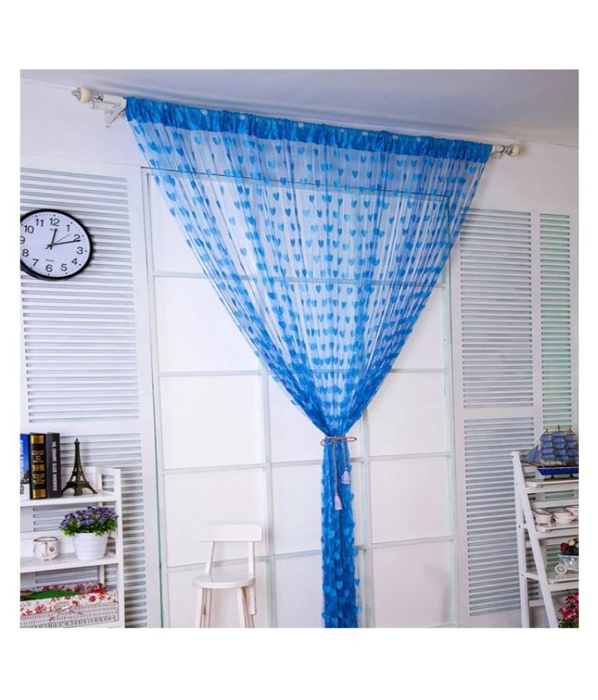 Stylewell Set of 2 Door Eyelet Polyester Curtains Blue