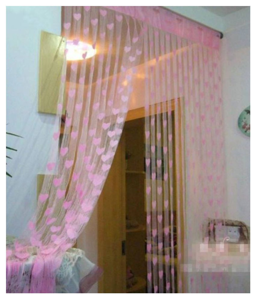 Stylewell Single Door Eyelet Polyester Curtains Pink