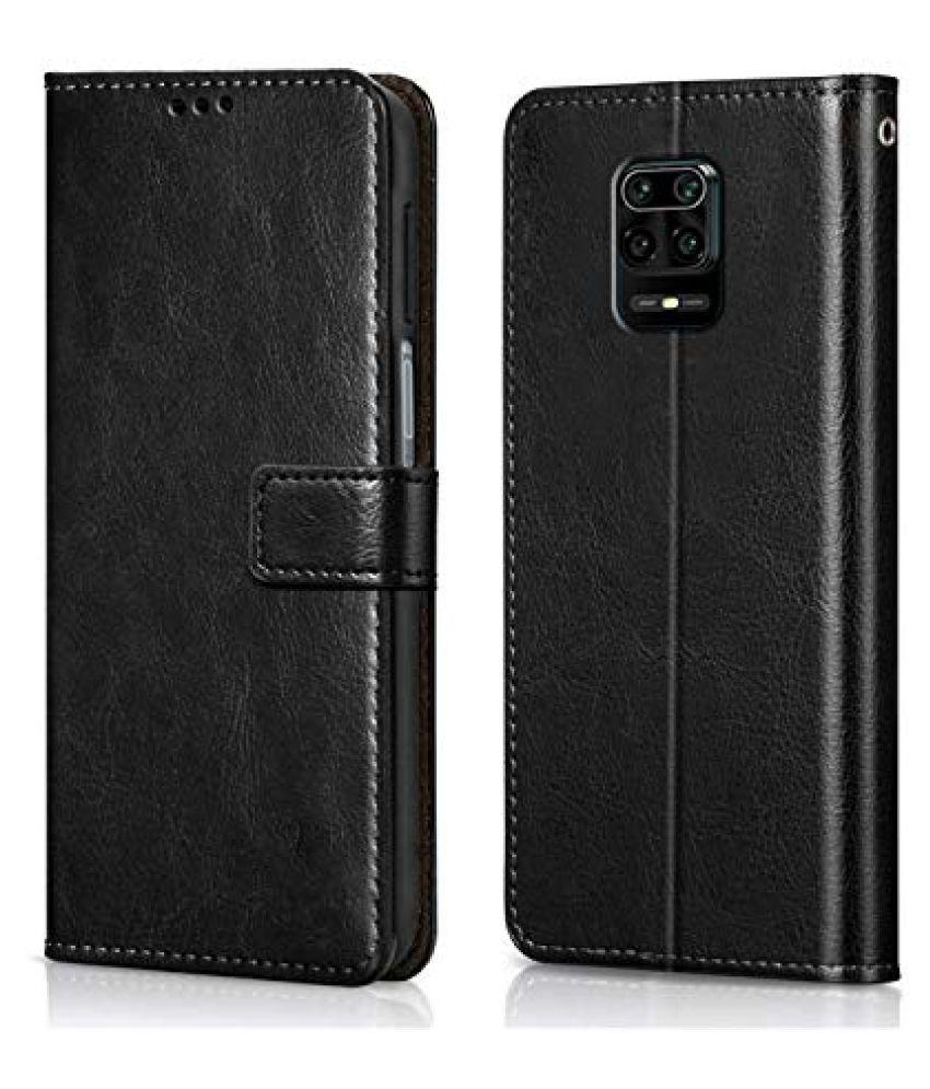 Xiaomi Mi Redmi Note 9 Pro Max Flip Cover by Wow Imagine   Black