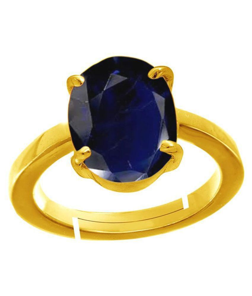 A1 Gems 7.25 Ratti 6.42 Carat A+ Quality Blue Sapphire Neelam Gemstone Ring For Men and Women's