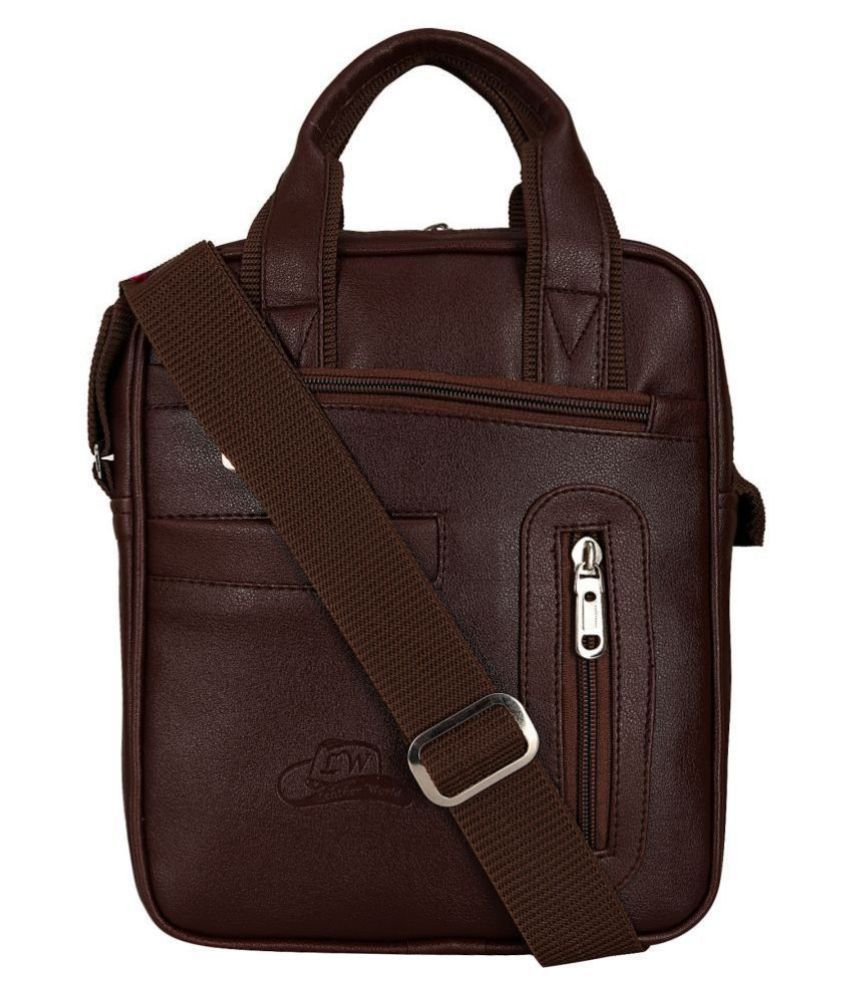 Leather Gifts SB3009 Brown Casual Messenger Bag