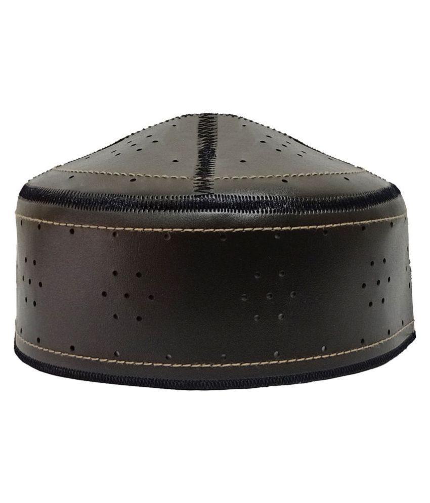 MUSLIM NAMAZI CAP Black Embroidered Fabric Caps