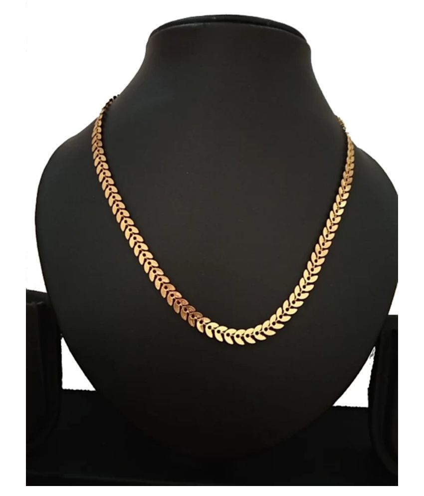 TRENDY (BUY THIS 1 GET 1 OTHER DIZEN CHAIN)  NOTE- LENGTH=21- INCH, PLEASE CHECK THE SIZE CHART BEFORE PURCHASING.  BRASS CHAIN DAILY WEAR, PARTY WEAR, WEDDING WEAR BRASS FLET CHAIN LONG LIFE MICRO YELLOW PLATED BRASS CHAIN FOR WOMEN,GIRL.MEN,BOYS