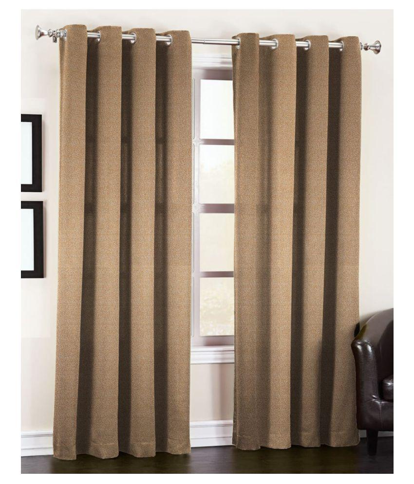 Vikas Trading Set of 2 Door Blackout Room Darkening Eyelet Poly Cotton Curtains Red