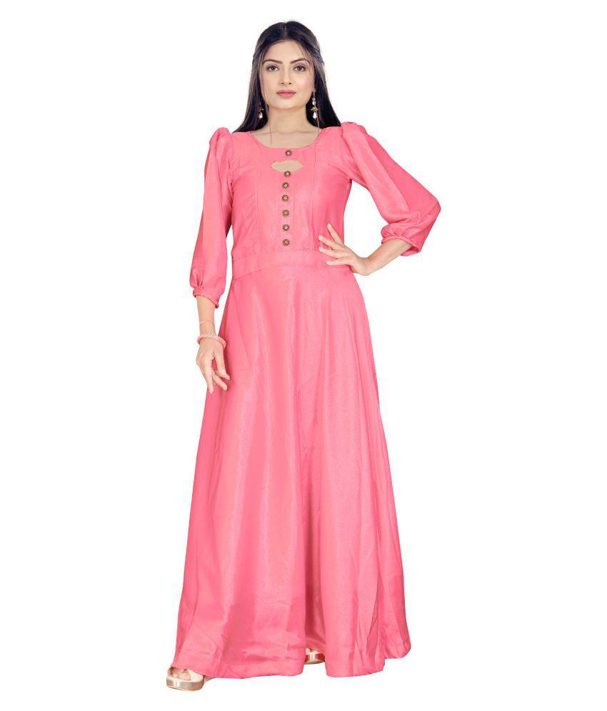 ARYAN ENTERPRISE Poly Satin Peach A- line Dress
