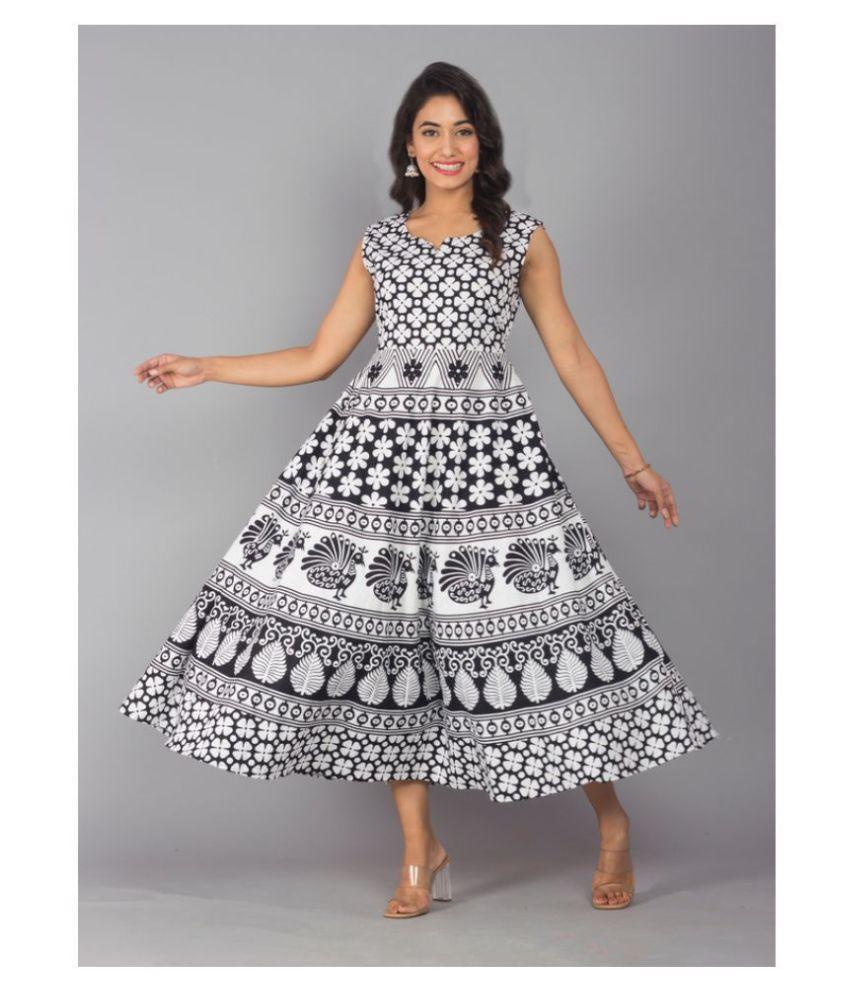 Urbanera Cotton Black A- line Dress