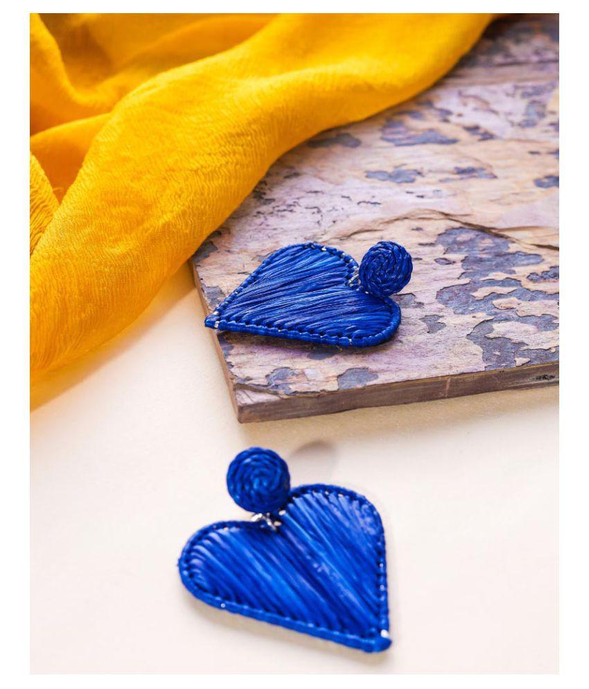 Astro Navy Heart Shape Sustainable Raffia Dangle Earrings