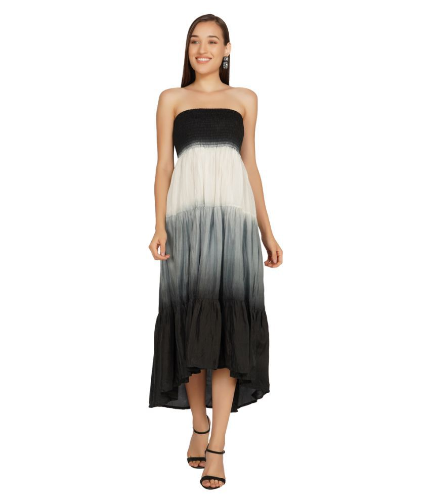 Essque Poly Viscose Multi Color Fit And Flare Dress