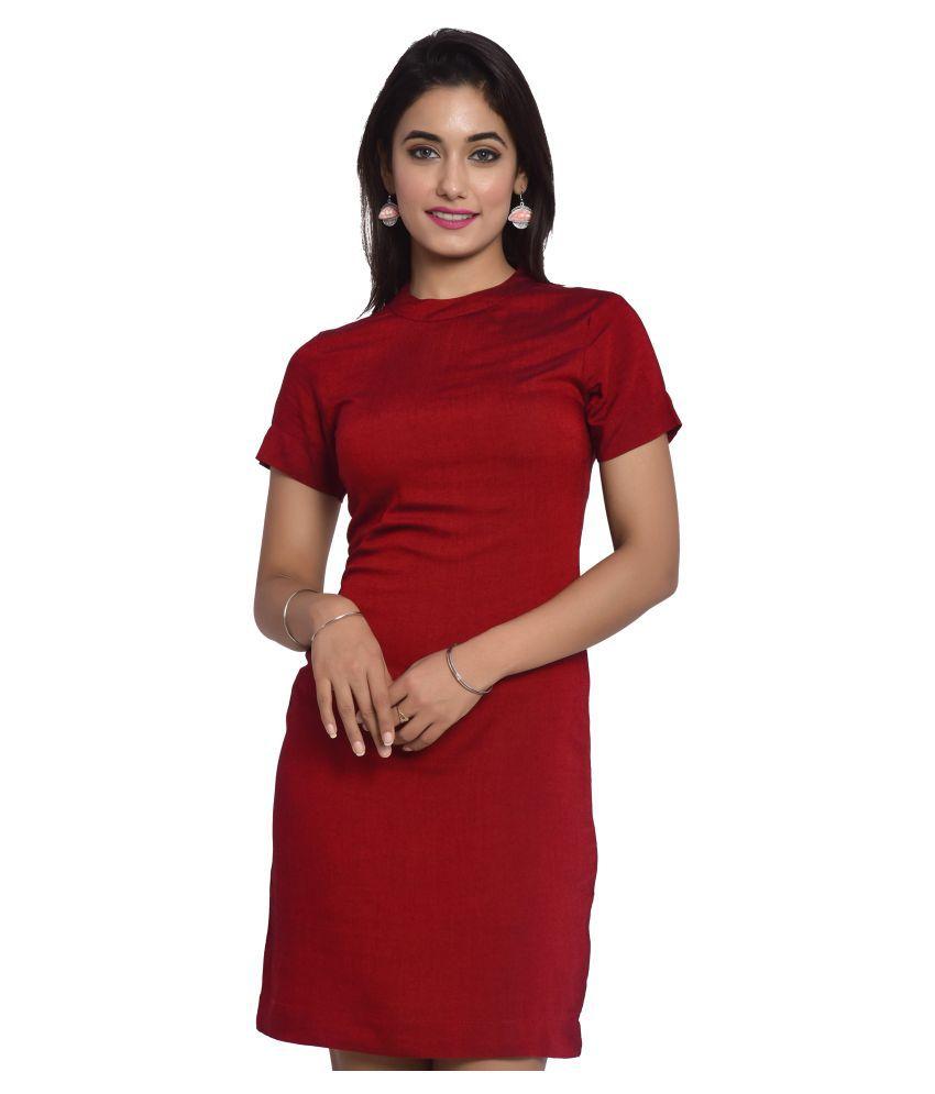 Kalley Rayon Maroon Bodycon Dress