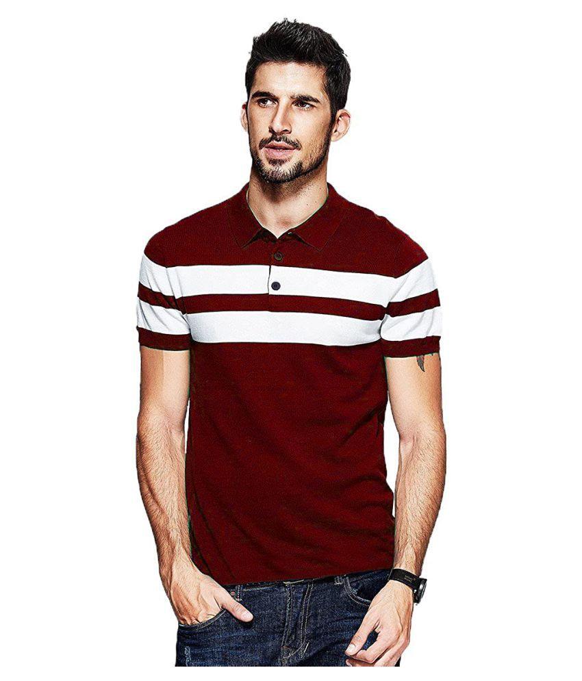 Leotude Maroon Color Block Polo T Shirt