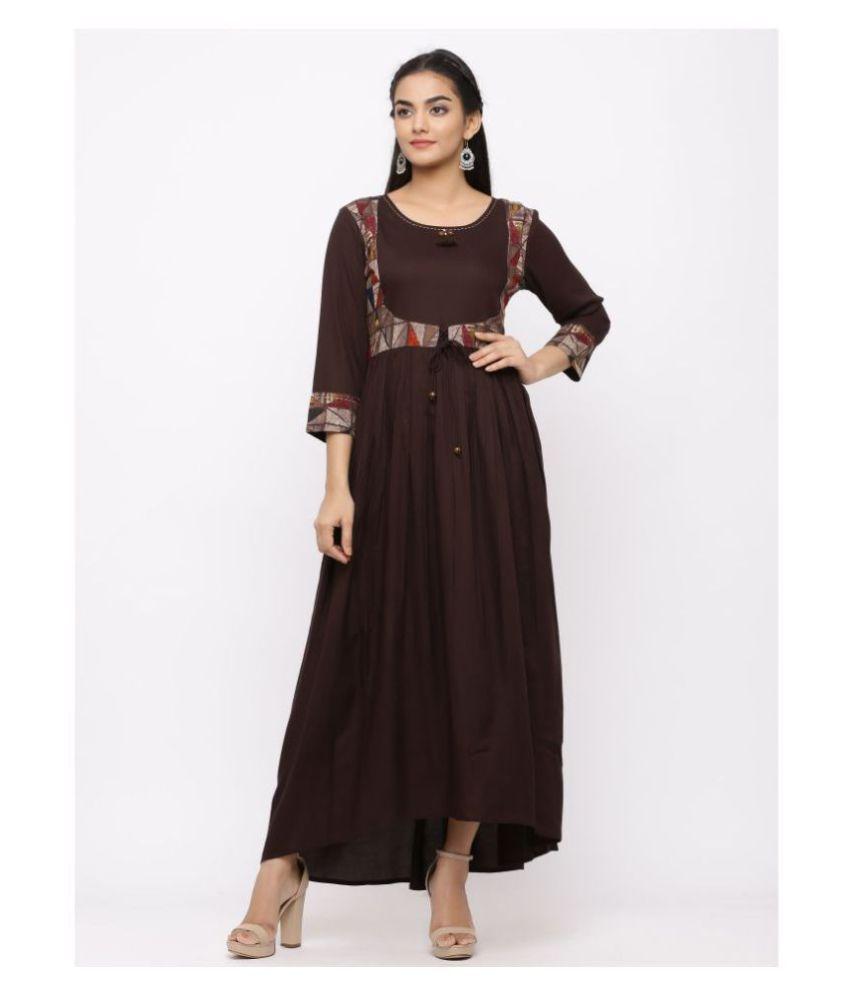 Charu Rayon Brown Regular Dress